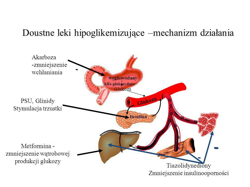 Doustne leki hipoglikemizujące –mechanizm działania PSU, Glinidy Stymulacja trzustki Metformina - zmniejszenie wątrobowej produkcji glukozy Glukoza wę