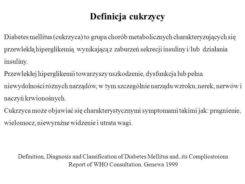 Definicja cukrzycy Diabetes mellitus (cukrzyca) to grupa chorób metabolicznych charakteryzujących się przewlekłą hiperglikemią wynikającą z zaburzeń s