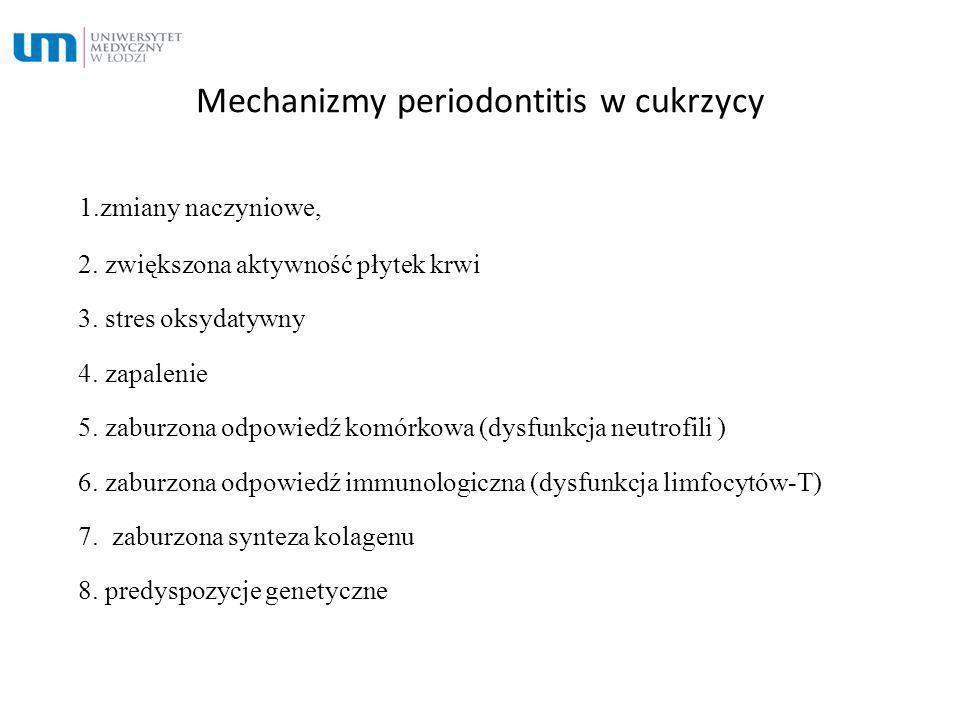 Mechanizmy periodontitis w cukrzycy 1.zmiany naczyniowe, 2. zwiększona aktywność płytek krwi 3. stres oksydatywny 4. zapalenie 5. zaburzona odpowiedź