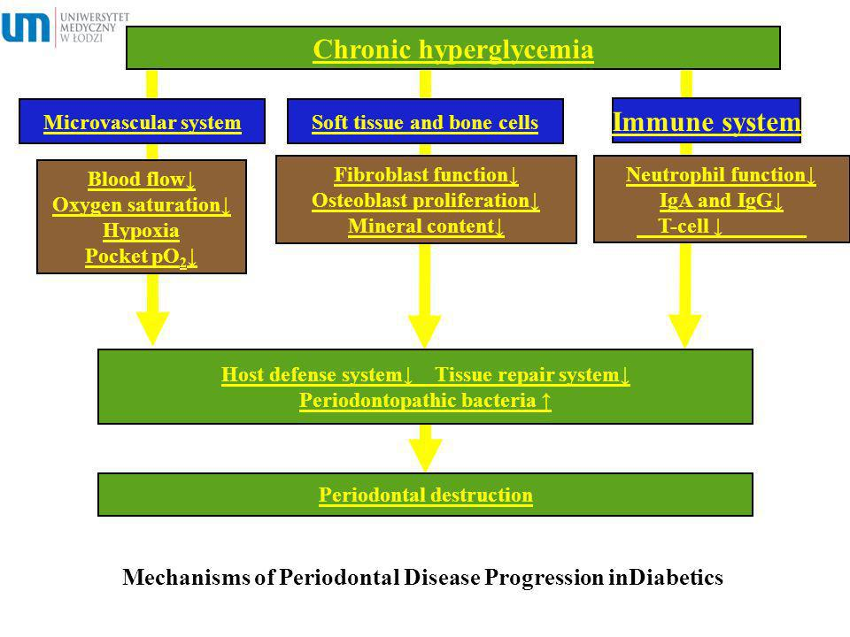 Mechanisms of Periodontal Disease Progression inDiabetics Chronic hyperglycemia Blood flow Oxygen saturation Hypoxia Pocket pO 2 Microvascular systemS