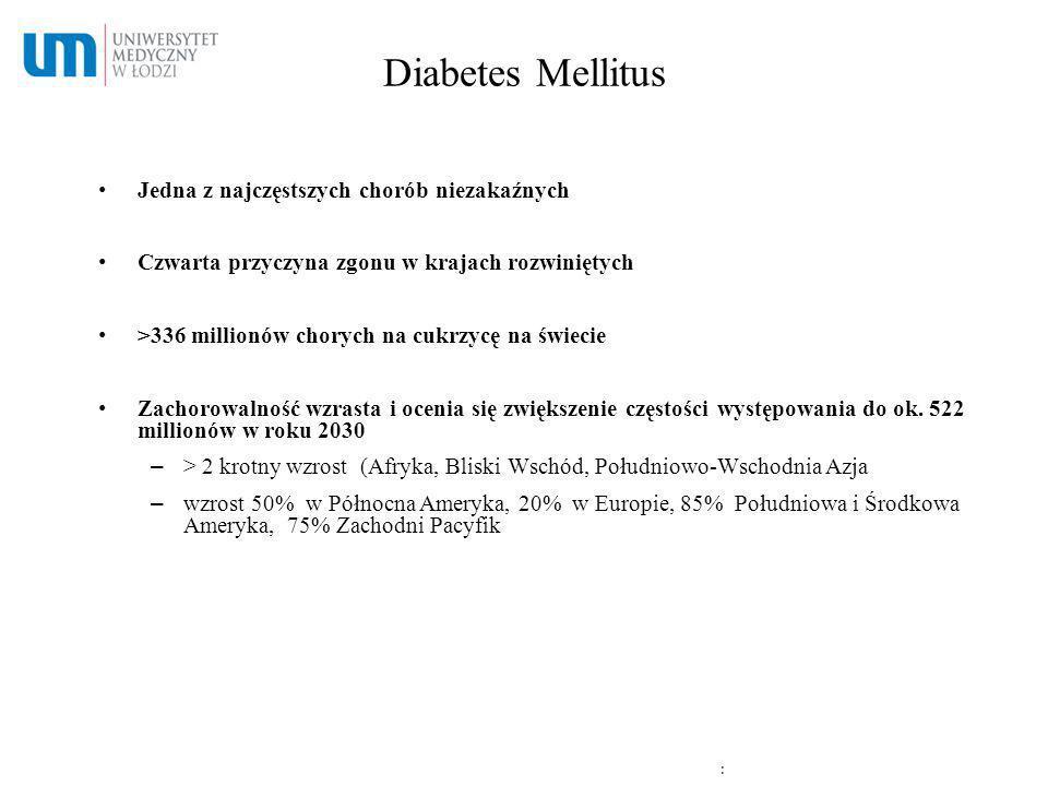 Diabetes Mellitus Jedna z najczęstszych chorób niezakaźnych Czwarta przyczyna zgonu w krajach rozwiniętych >336 millionów chorych na cukrzycę na świec