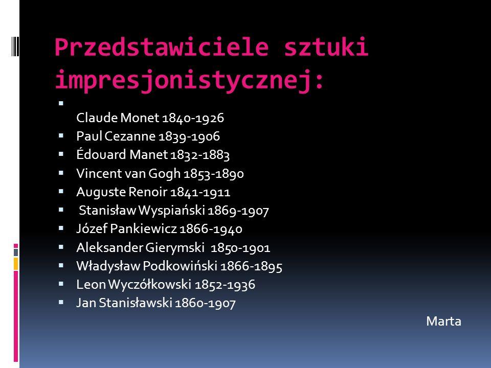 Przedstawiciele sztuki impresjonistycznej: Claude Monet 1840-1926 Paul Cezanne 1839-1906 Édouard Manet 1832-1883 Vincent van Gogh 1853-1890 Auguste Re