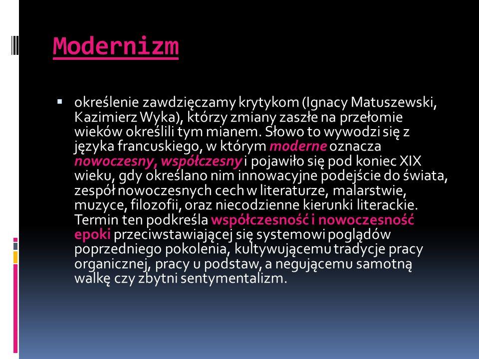 Modernizm określenie zawdzięczamy krytykom (Ignacy Matuszewski, Kazimierz Wyka), którzy zmiany zaszłe na przełomie wieków określili tym mianem. Słowo