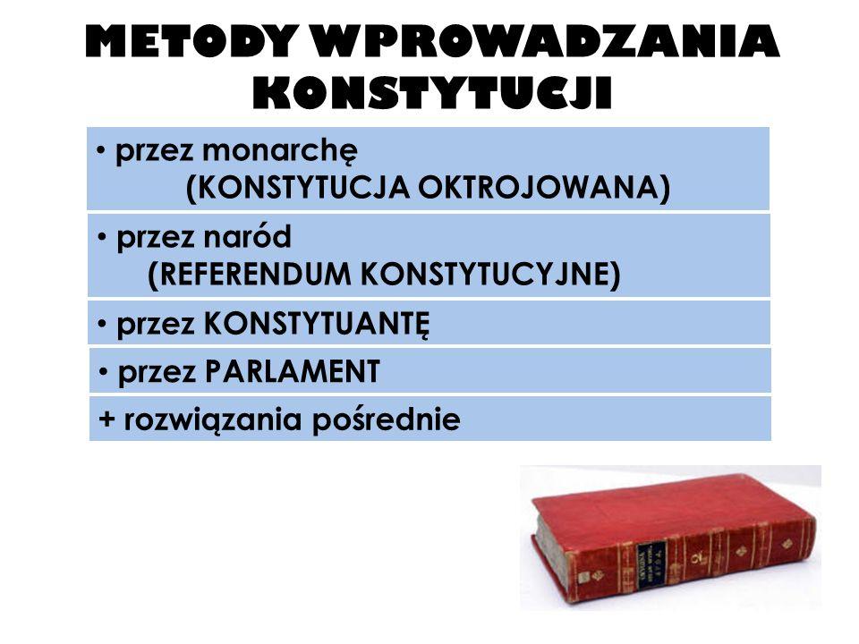 METODY WPROWADZANIA KONSTYTUCJI przez monarchę (KONSTYTUCJA OKTROJOWANA) przez naród (REFERENDUM KONSTYTUCYJNE) przez KONSTYTUANTĘ przez PARLAMENT + rozwiązania pośrednie