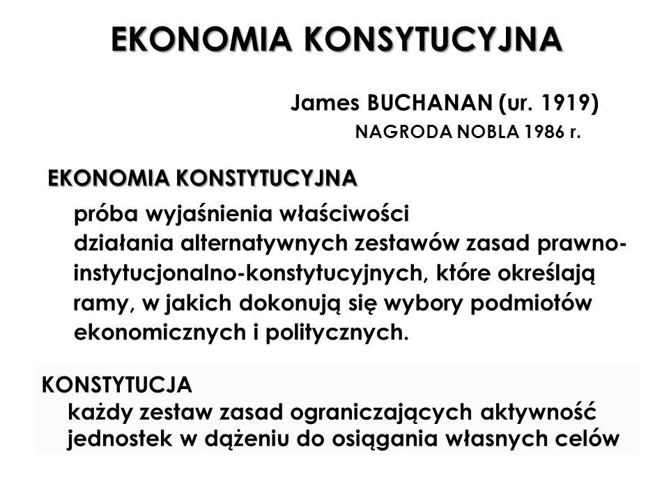 EKONOMIA KONSYTUCYJNA James BUCHANAN (ur.1919) NAGRODA NOBLA 1986 r.