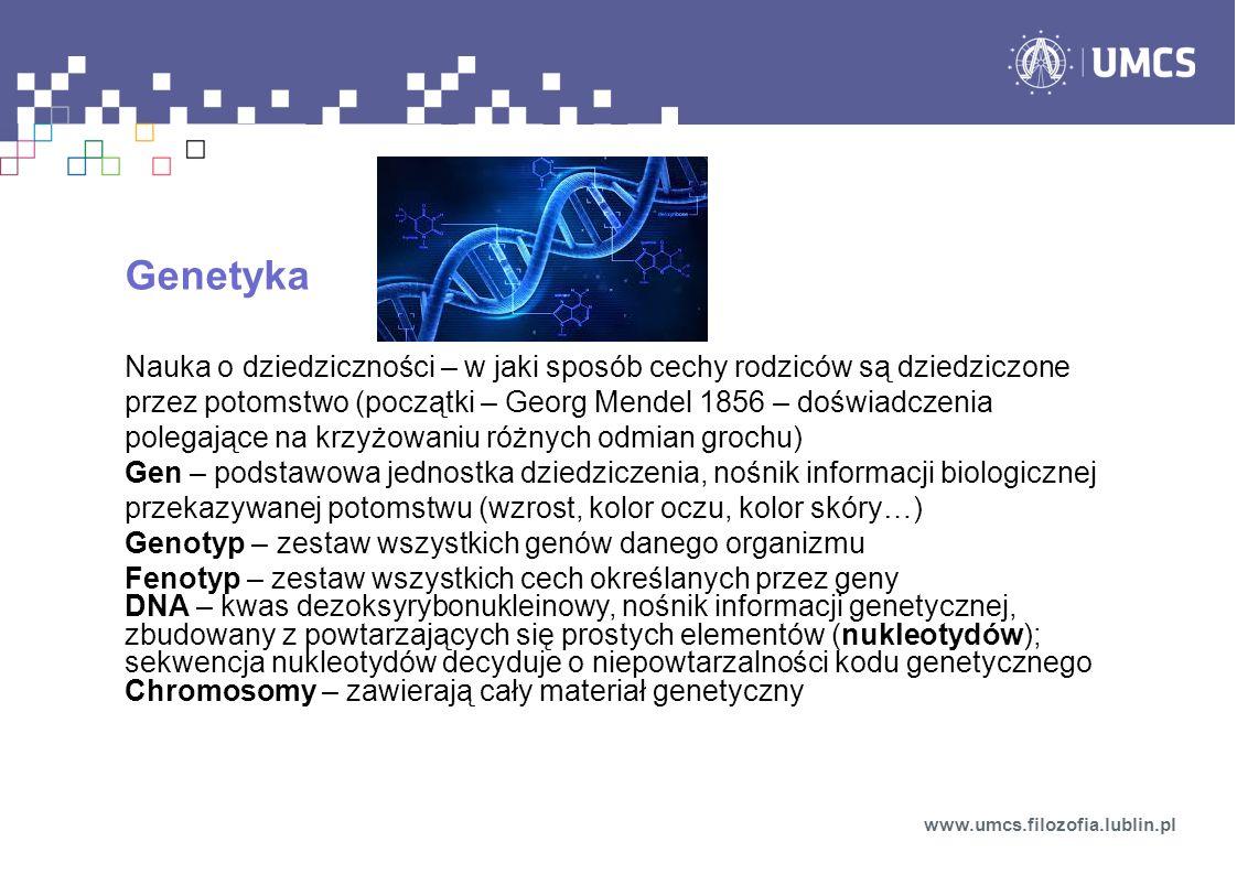 Genetyka Nauka o dziedziczności – w jaki sposób cechy rodziców są dziedziczone przez potomstwo (początki – Georg Mendel 1856 – doświadczenia polegając