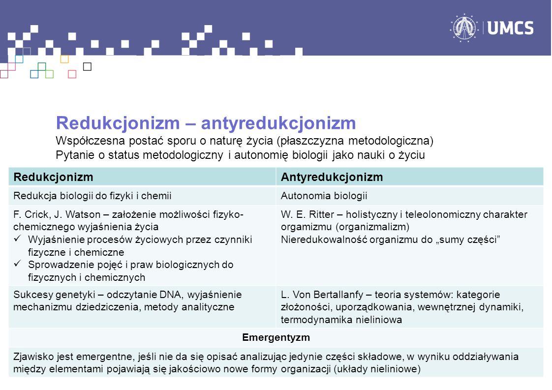 Redukcjonizm – antyredukcjonizm Współczesna postać sporu o naturę życia (płaszczyzna metodologiczna) Pytanie o status metodologiczny i autonomię biolo