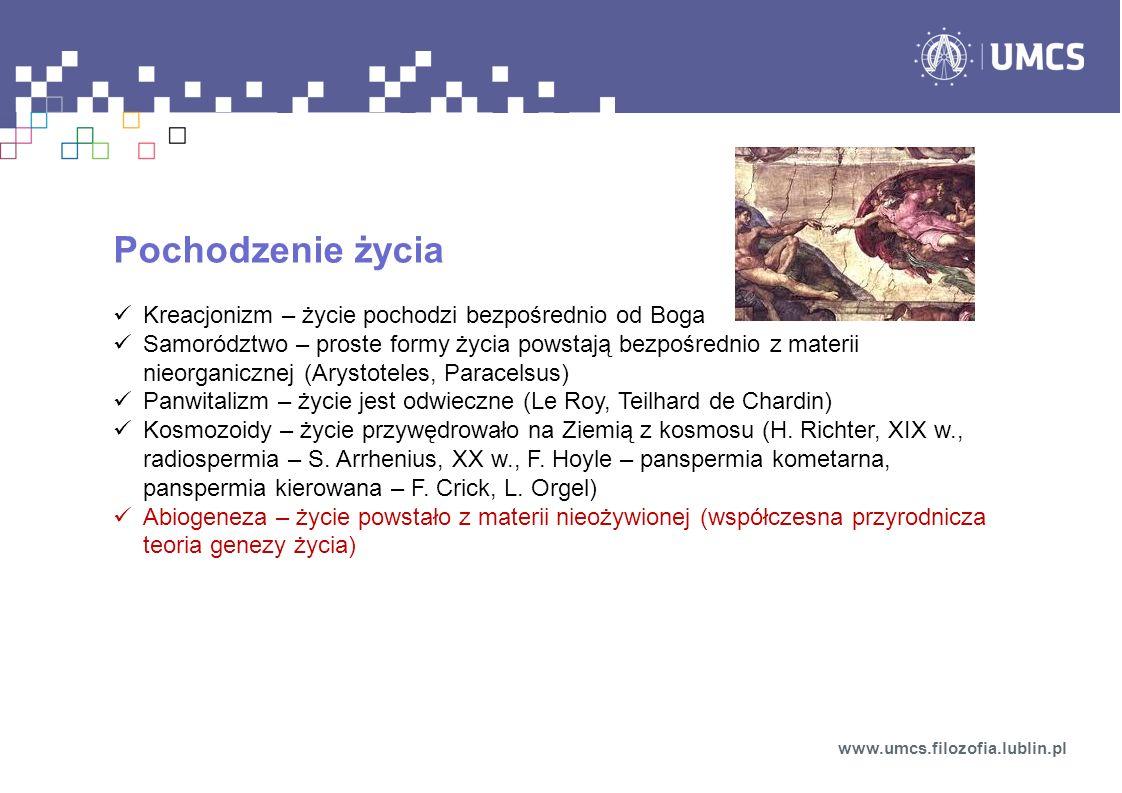 Przyrodnicza teoria genezy życia (abiogeneza) Podstawa: biologia, biochemia, genetyka, biologia, astronomia, paleontologia, Początek: Wielki Wybuch ok.