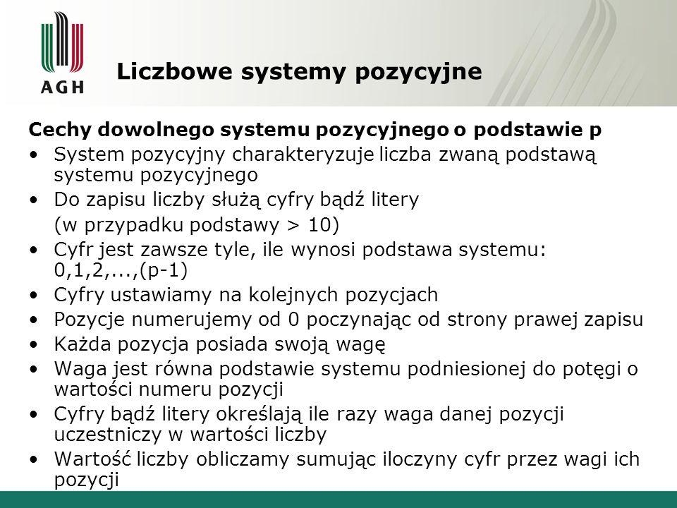 Liczbowe systemy pozycyjne Cechy dowolnego systemu pozycyjnego o podstawie p System pozycyjny charakteryzuje liczba zwaną podstawą systemu pozycyjnego