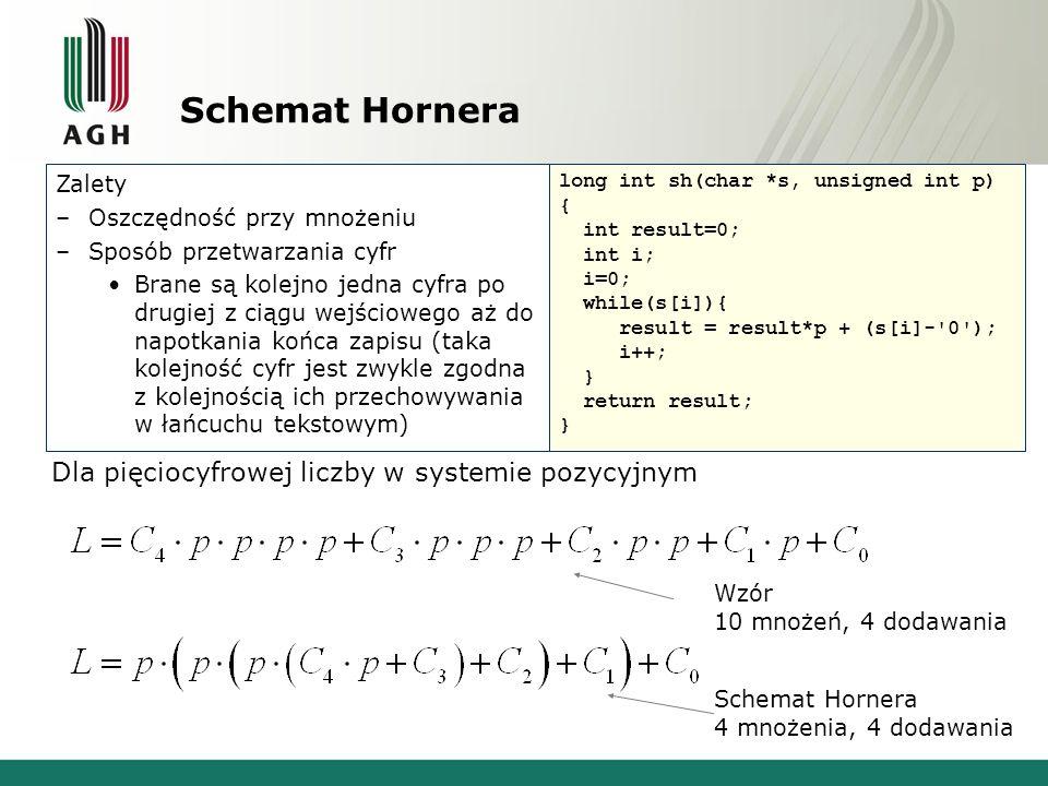 Schemat Hornera Zalety –Oszczędność przy mnożeniu –Sposób przetwarzania cyfr Brane są kolejno jedna cyfra po drugiej z ciągu wejściowego aż do napotka