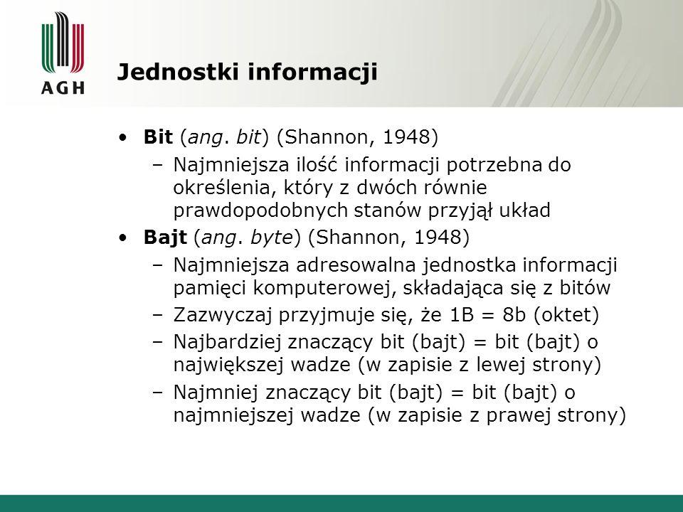 Jednostki informacji Bit (ang. bit) (Shannon, 1948) –Najmniejsza ilość informacji potrzebna do określenia, który z dwóch równie prawdopodobnych stanów