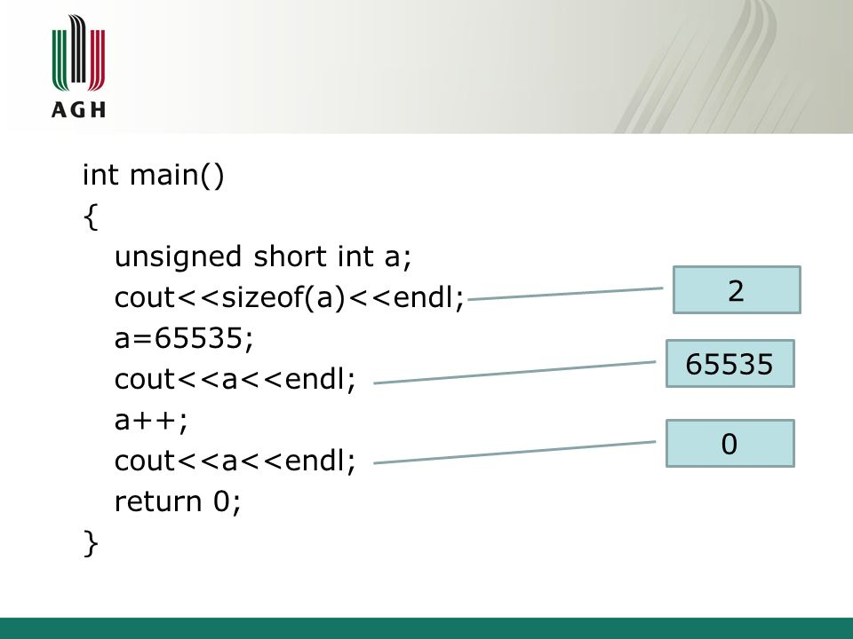int main() { unsigned short int a; cout<<sizeof(a)<<endl; a=65535; cout<<a<<endl; a++; cout<<a<<endl; return 0; } 2 65535 0