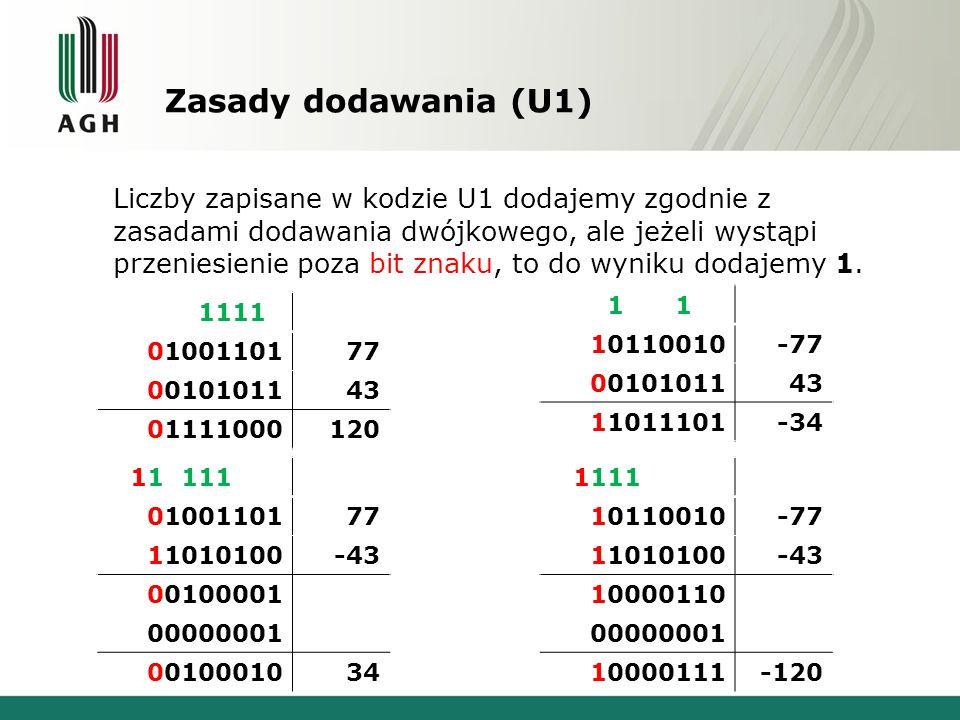Zasady dodawania (U1) Liczby zapisane w kodzie U1 dodajemy zgodnie z zasadami dodawania dwójkowego, ale jeżeli wystąpi przeniesienie poza bit znaku, t