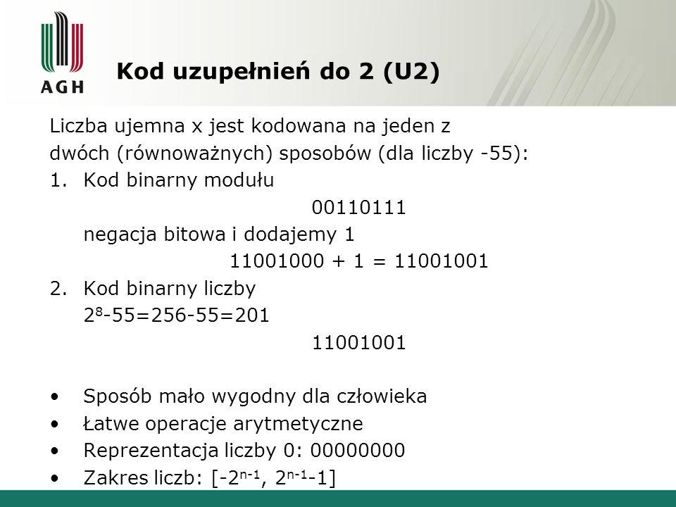 Kod uzupełnień do 2 (U2) Liczba ujemna x jest kodowana na jeden z dwóch (równoważnych) sposobów (dla liczby -55): 1.Kod binarny modułu 00110111 negacj