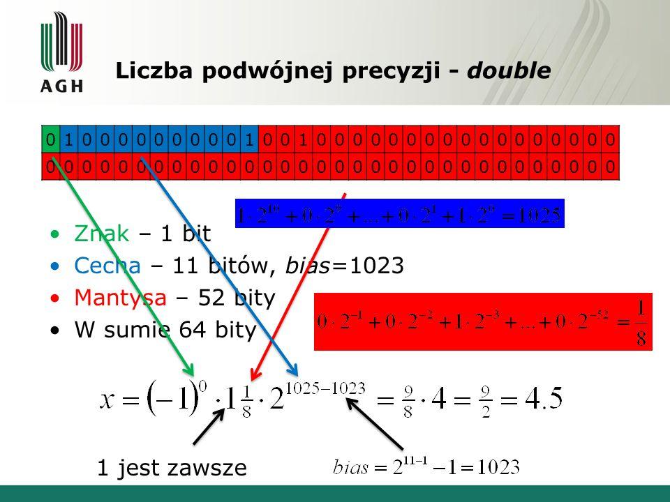 Liczba podwójnej precyzji - double Znak – 1 bit Cecha – 11 bitów, bias=1023 Mantysa – 52 bity W sumie 64 bity 01000000000100100000000000000000 0000000