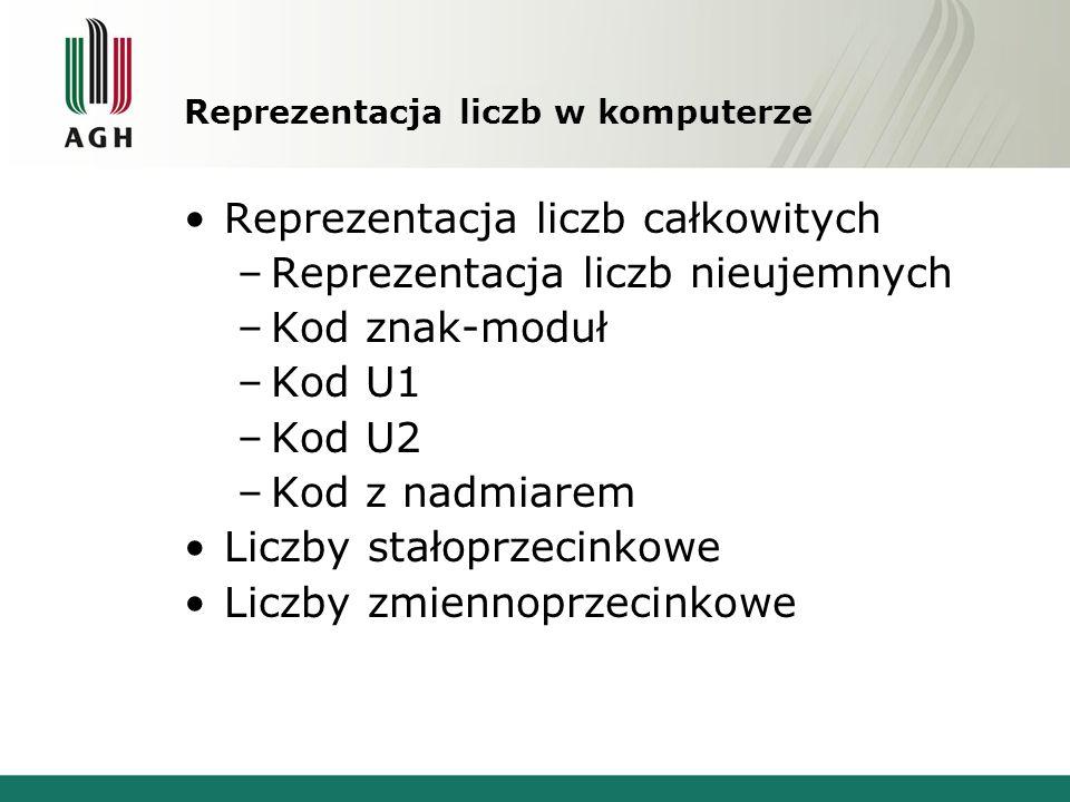 Reprezentacja liczb w komputerze Reprezentacja liczb całkowitych –Reprezentacja liczb nieujemnych –Kod znak-moduł –Kod U1 –Kod U2 –Kod z nadmiarem Lic