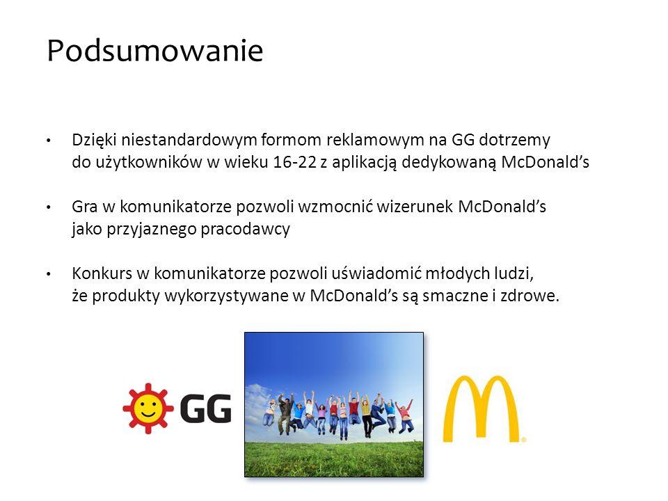 Podsumowanie Dzięki niestandardowym formom reklamowym na GG dotrzemy do użytkowników w wieku 16-22 z aplikacją dedykowaną McDonalds Gra w komunikatorz