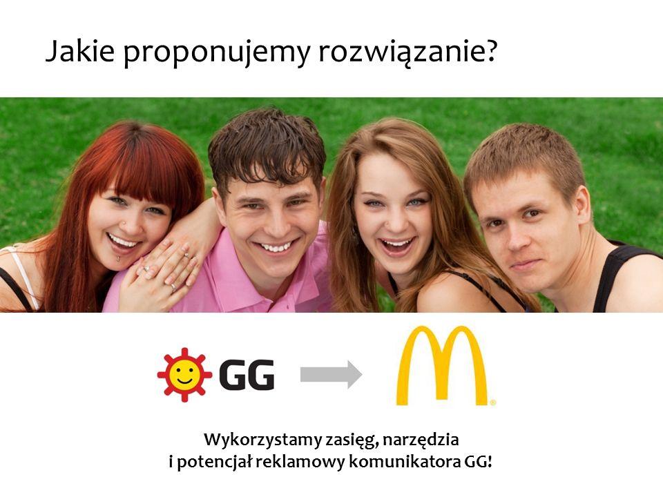 Reklama w komunikatorze Skórka GG target: 16-22 zasięg: 1.5 mln użytkowników bardzo dobra widoczność klikalne elementy: - kierują na stronę aplikacji Cena: 60 000 PLN RC / tydzień