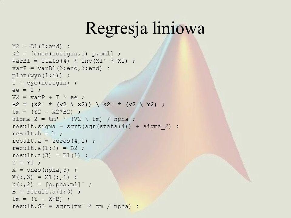 Regresja liniowa Y2 = B1(3:end) ; X2 = [ones(norigin,1) p.oml] ; varB1 = stats(4) * inv(X1' * X1) ; varP = varB1(3:end,3:end) ; plot(wyn(1:i)) ; I = e