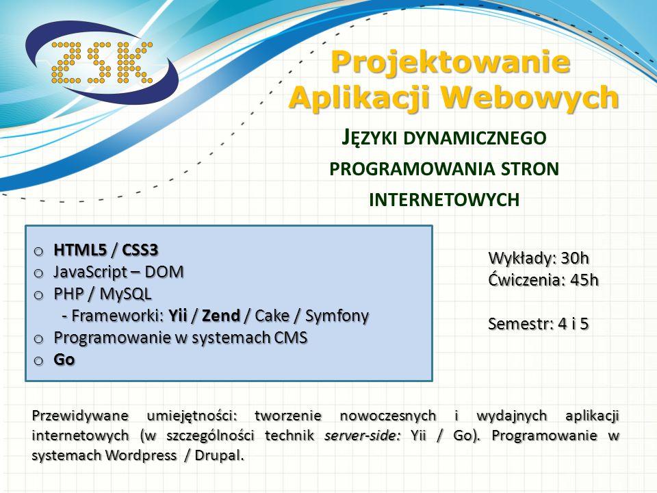 o HTML5 / CSS3 o JavaScript – DOM o PHP / MySQL - Frameworki: Yii / Zend / Cake / Symfony o Programowanie w systemach CMS o Go J ĘZYKI DYNAMICZNEGO PR