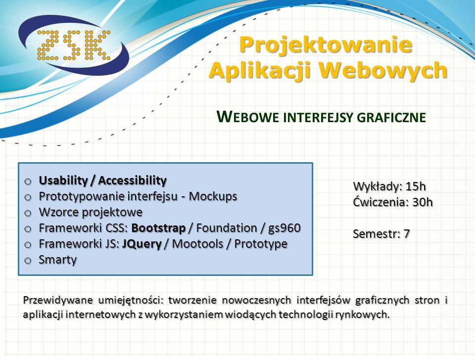 o Usability / Accessibility o Prototypowanie interfejsu - Mockups o Wzorce projektowe o Frameworki CSS: Bootstrap / Foundation / gs960 o Frameworki JS