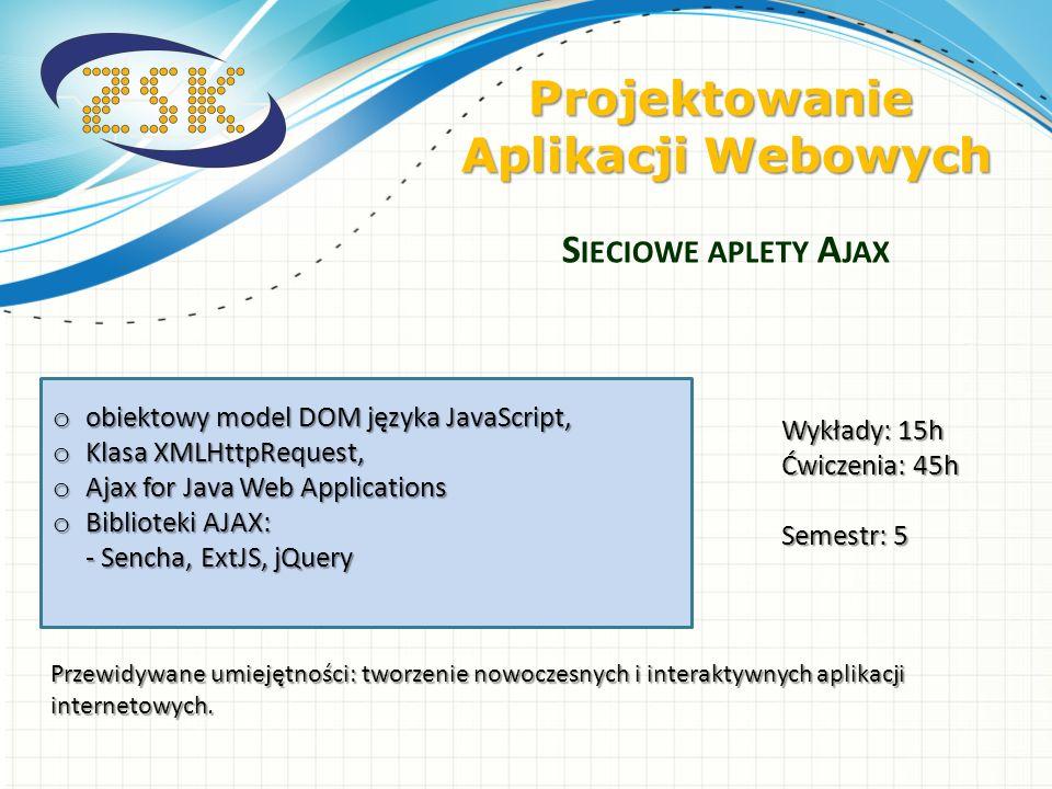 o obiektowy model DOM języka JavaScript, o Klasa XMLHttpRequest, o Ajax for Java Web Applications o Biblioteki AJAX: - Sencha, ExtJS, jQuery S IECIOWE