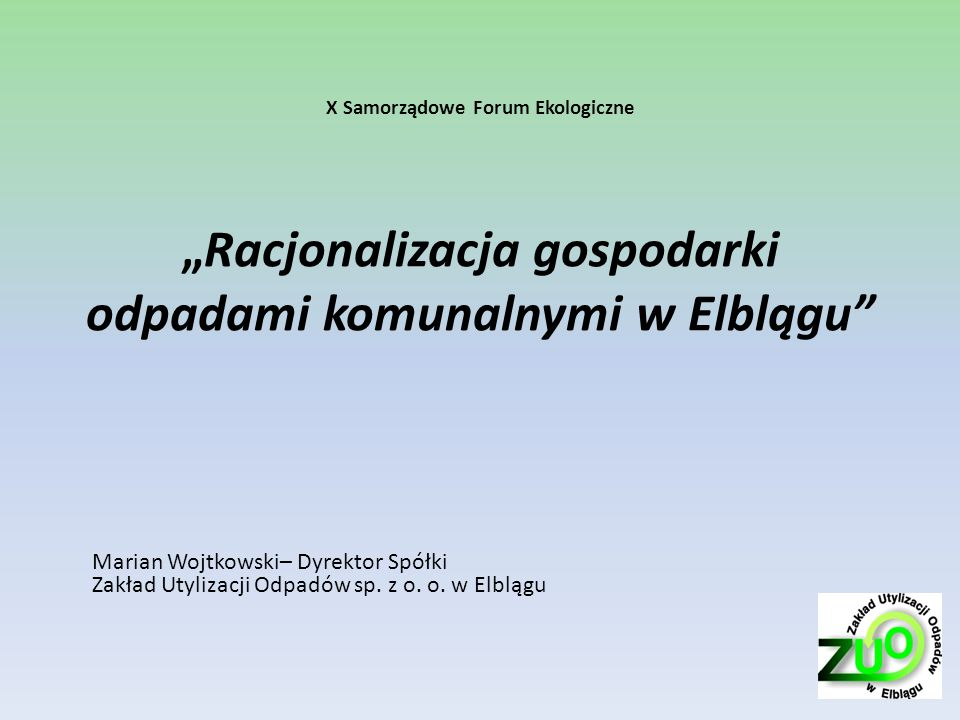 Projekt I ZUO -Racjonalizacja gospodarki odpadami komunalnymi w Elblągu Zadanie 1: Rozbudowa i unowocześnienie Zakładu Utylizacji Odpadów W ramach rozbudowy i unowocześnienia przewiduje się wykonać: Obiekty mechaniczno-biologicznego przetwarzania odpadów: – Instalacja sortowni odpadów zmieszanych i pochodzących z selektywnej zbiórki o zdolności przetwarzania co najmniej 54 000 Mg/a odpadów przy pracy na 2 zmiany wraz z linią doczyszczania frakcji opakowań szklanych; – Instalacja doczyszczania i konfekcjonowania frakcji tworzyw sztucznych o zdolności przetwarzania co najmniej 0,25 Mg/h; – Instalacja procesów kompostowania lub stabilizacji o zdolności przetwarzania co najmniej 28 000 Mg/a odpadów ulegających biodegradacji; – Instalacja przygotowywania odpadów do produkcji komponentów paliwa alternatywnego o zdolności przetwarzania co najmniej 0,2 Mg/h odpadów; – Instalacja przygotowania odpadów wielkogabarytowych, elektrycznych, elektronicznych, sprzętu AGD i RTV do przekazania recyklerom ostatecznym o zdolności przetwarzania co najmniej 5 Mg/h odpadów; Budynek socjalny o powierzchni użytkowej nie mniejszej niż 400 m²; Budynek administracyjno-socjalny o powierzchni całkowitej nie mniejszej niż 760 m² wraz z modernizacją obecnie użytkowanego obiektu, Obiekt z instalacją wykorzystania biogazu, Zakładowa stacja paliw, Obiekt magazynowo-manewrowy - Centrum Recyklingu Wewnętrzne drogi i chodniki łączące poszczególne obiekty i instalacje, Składowisko balastu o powierzchni około 3,74ha, Przyłącze elektroenergetyczne o mocy N= około 1,0 MW oraz przyłącza telekomunikacyjne, Przyłącza i sieci sanitarne.