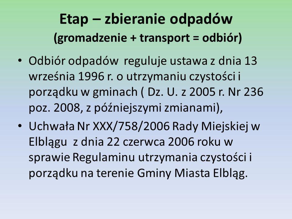Etap – zbieranie odpadów W Elblągu 100% mieszkańców oraz podmiotów gospodarczych objętych jest zorganizowaną zbiórką i transportem niesegregowanych, zmieszanych odpadów komunalnych.