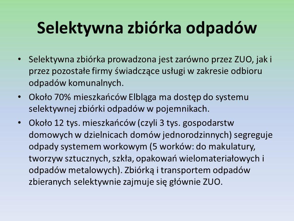 Przedsięwzięcie Racjonalizacja gospodarki odpadami komunalnymi i rekultywacja składowisk odpadów w Elblągu Przedsięwzięcie składa się z dwóch Projektów: Projekt I ZUO – Racjonalizacja gospodarki odpadami komunalnymi w Elblągu Zadanie 1: Rozbudowa i unowocześnienie Zakładu Utylizacji Odpadów, Zadanie 2: Selektywna zbiórka odpadów, Zadanie 3: Program edukacji ekologicznej.