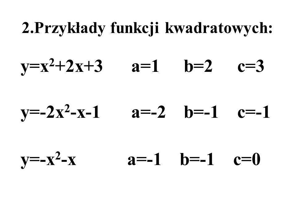 2.Przykłady funkcji kwadratowych: y=x 2 +2x+3a=1b=2c=3 y=-2x 2 -x-1a=-2b=-1c=-1 y=-x 2 -xa=-1b=-1c=0