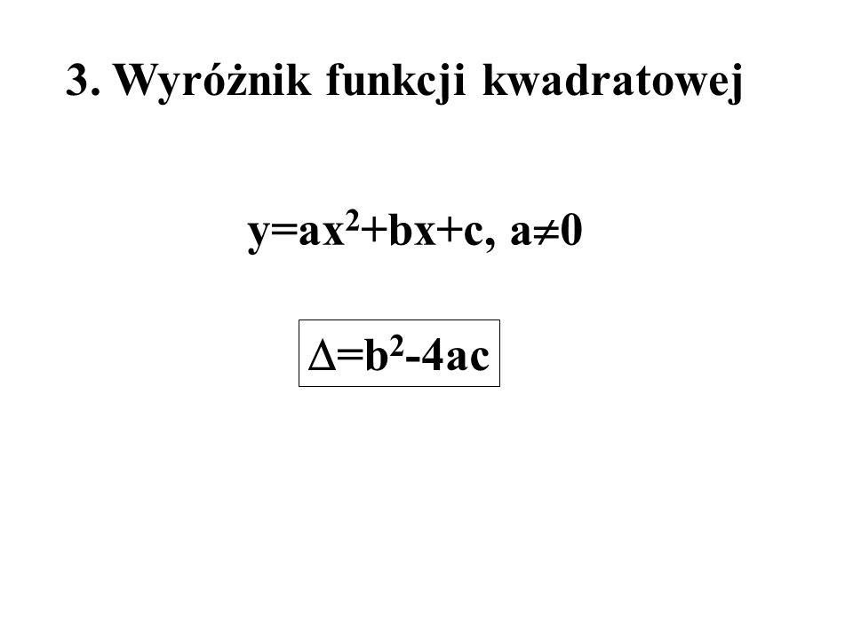 3. Wyróżnik funkcji kwadratowej =b 2 -4ac y=ax 2 +bx+c, a 0