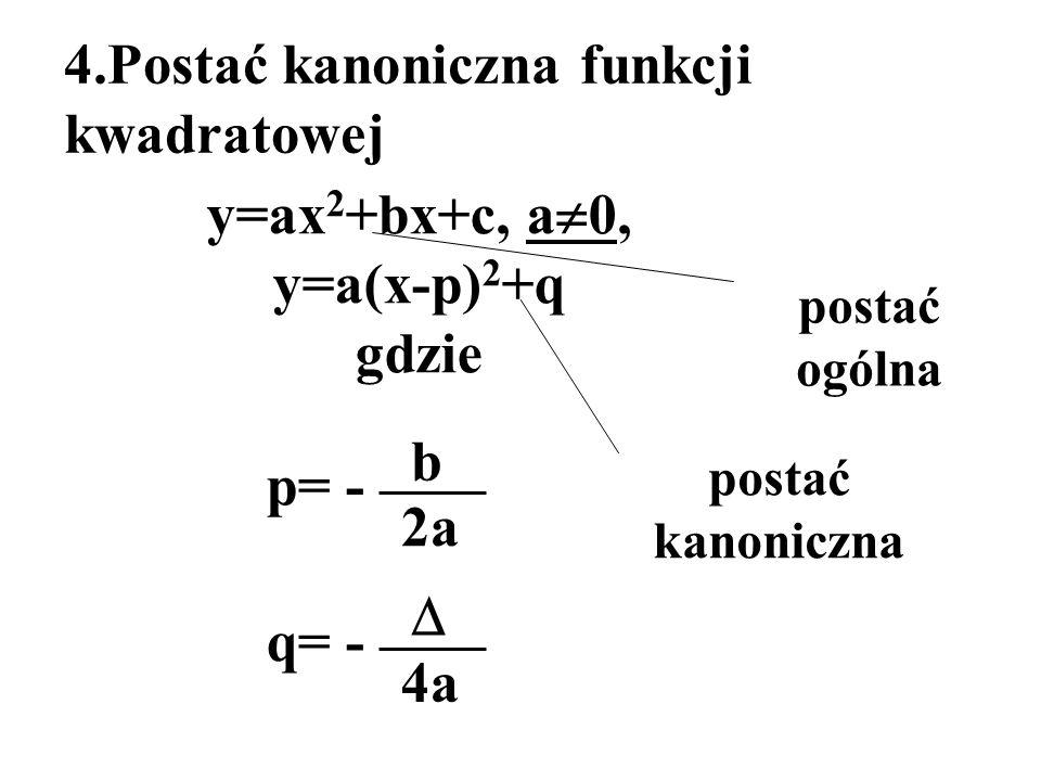 4.Postać kanoniczna funkcji kwadratowej y=ax 2 +bx+c, a 0, y=a(x-p) 2 +q gdzie p= - b 2a q= - 4a postać kanoniczna postać ogólna