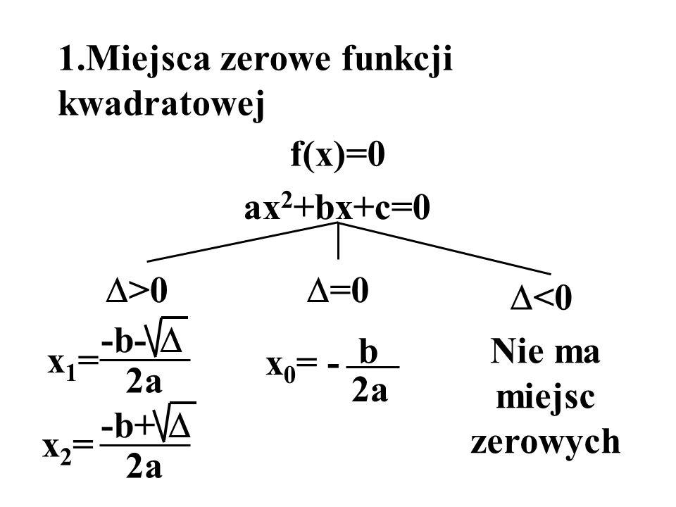 1.Miejsca zerowe funkcji kwadratowej ax 2 +bx+c=0 f(x)=0 >0 x1=x1= -b- 2a x2=x2= -b+ 2a =0 x 0 = - b 2a <0 Nie ma miejsc zerowych