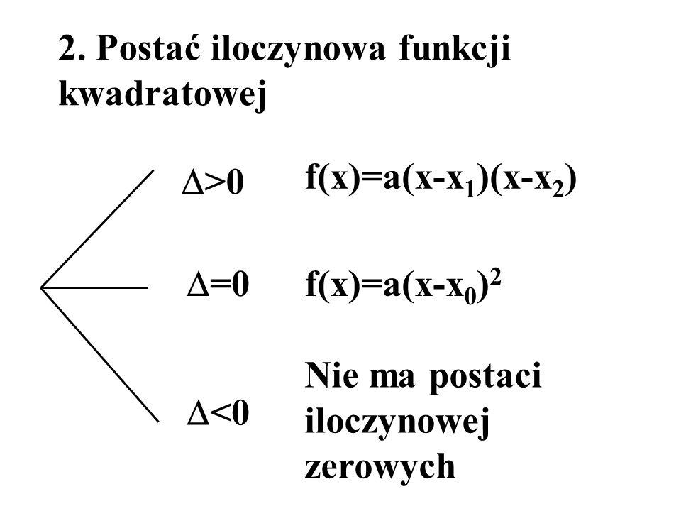 2. Postać iloczynowa funkcji kwadratowej f(x)=a(x-x 1 )(x-x 2 ) >0 =0 <0 Nie ma postaci iloczynowej zerowych f(x)=a(x-x 0 ) 2