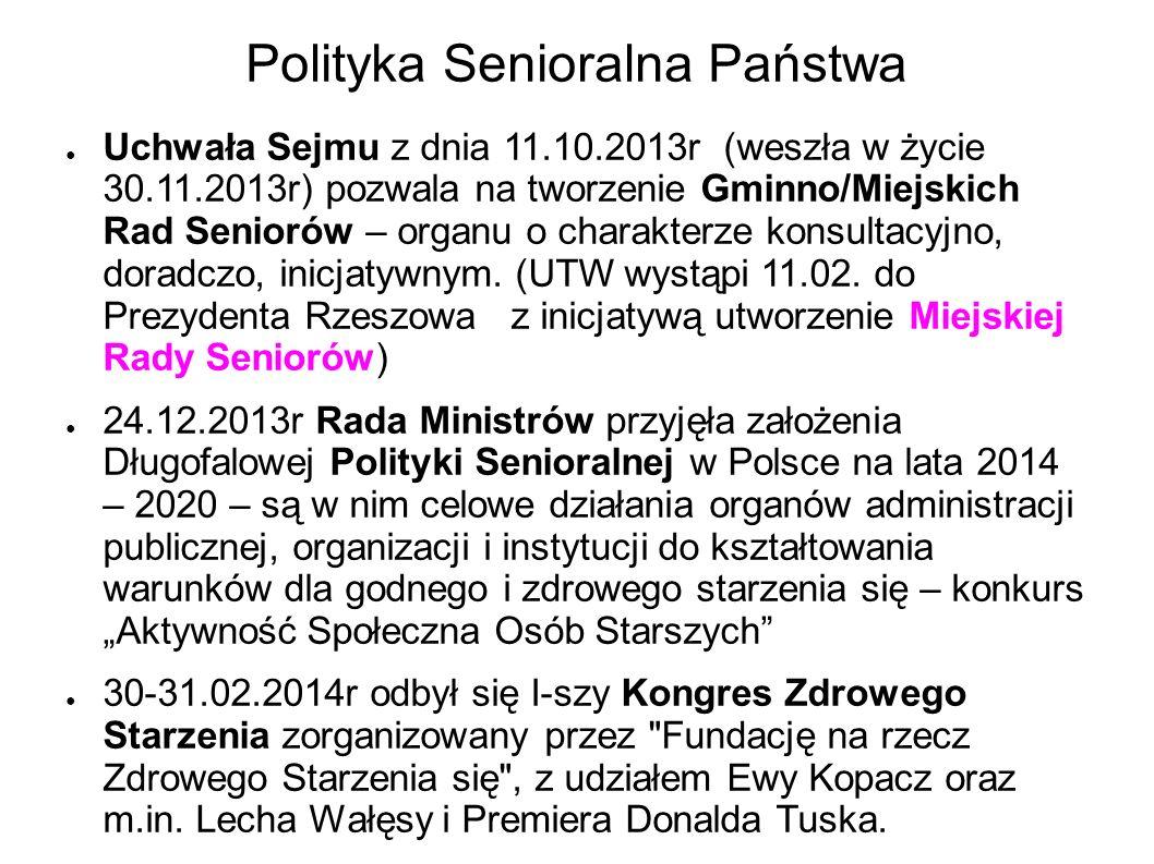 Polityka Senioralna Państwa Uchwała Sejmu z dnia 11.10.2013r (weszła w życie 30.11.2013r) pozwala na tworzenie Gminno/Miejskich Rad Seniorów – organu o charakterze konsultacyjno, doradczo, inicjatywnym.