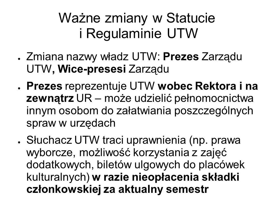 Ważne zmiany w Statucie i Regulaminie UTW Zmiana nazwy władz UTW: Prezes Zarządu UTW, Wice-presesi Zarządu Prezes reprezentuje UTW wobec Rektora i na zewnątrz UR – może udzielić pełnomocnictwa innym osobom do załatwiania poszczególnych spraw w urzędach Słuchacz UTW traci uprawnienia (np.