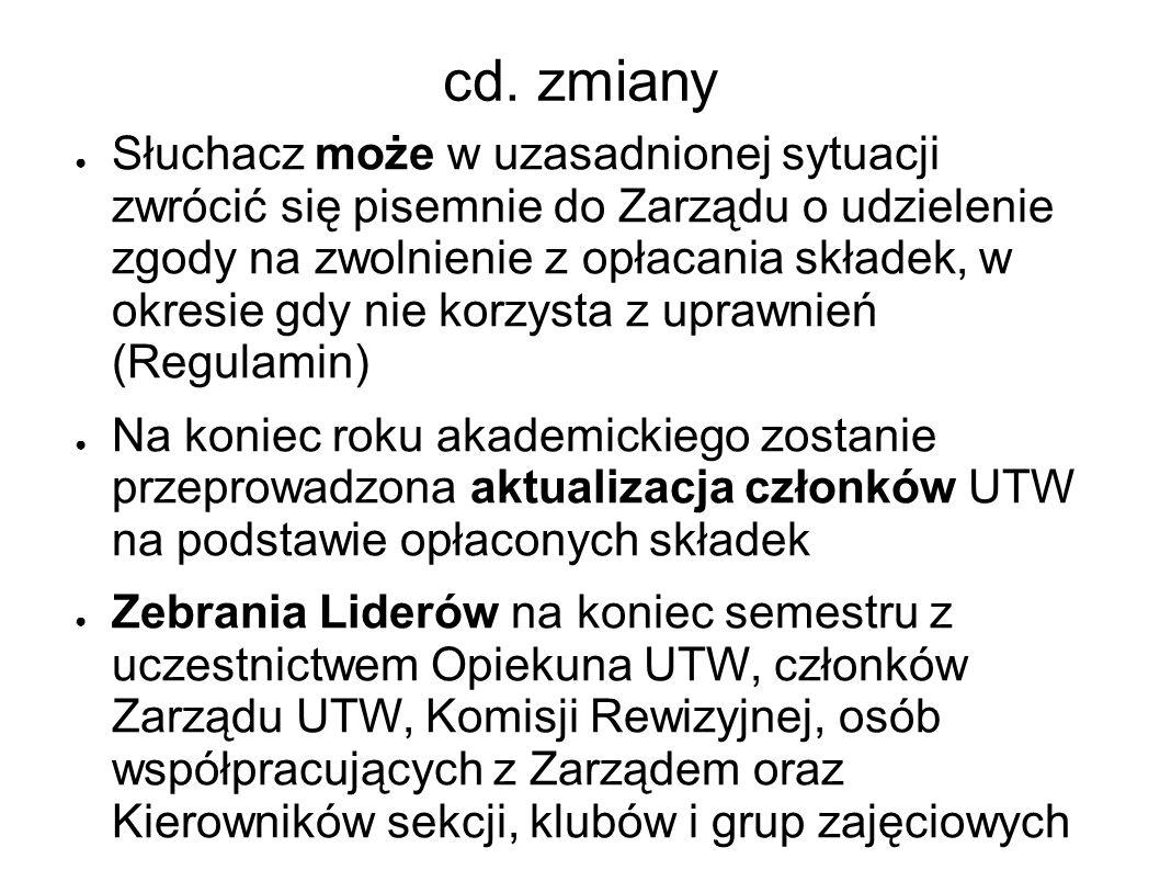 cd. zmiany Słuchacz może w uzasadnionej sytuacji zwrócić się pisemnie do Zarządu o udzielenie zgody na zwolnienie z opłacania składek, w okresie gdy n