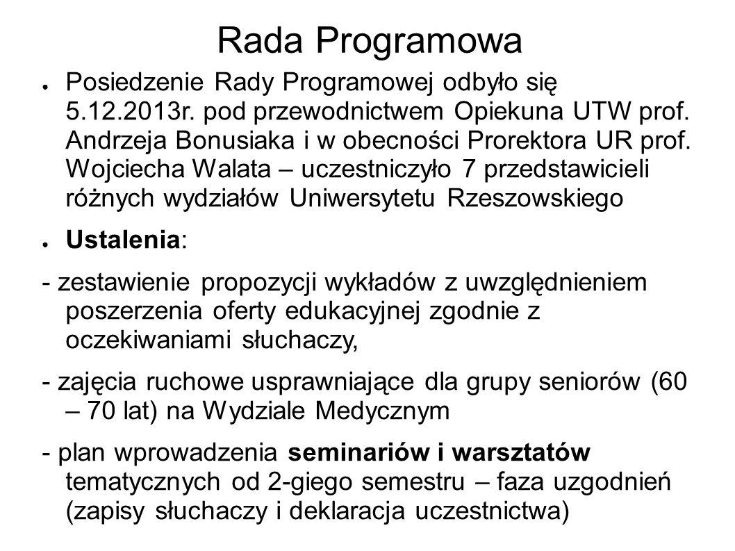 Zebrania Zarządu W I-szym semestrze odbyło się 5 zebrań Zarządu UTW, w tym jedno 18.12.2013r.