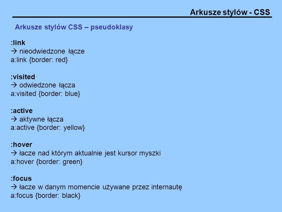 Arkusze stylów - CSS Arkusze stylów CSS – pseudoklasy :link nieodwiedzone łącze a:link {border: red} :visited odwiedzone łącza a:visited {border: blue