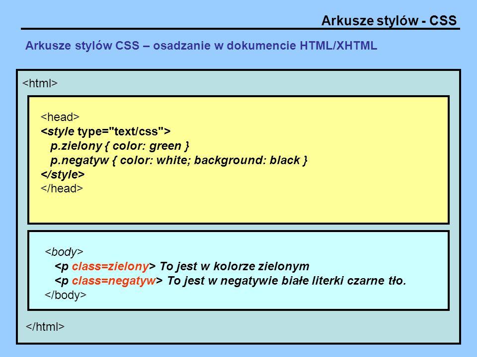 Arkusze stylów - CSS Arkusze stylów CSS – osadzanie w dokumencie HTML/XHTML – sposób 1 To jest w kolorze zielonym To jest w negatywie białe literki czarne tło.