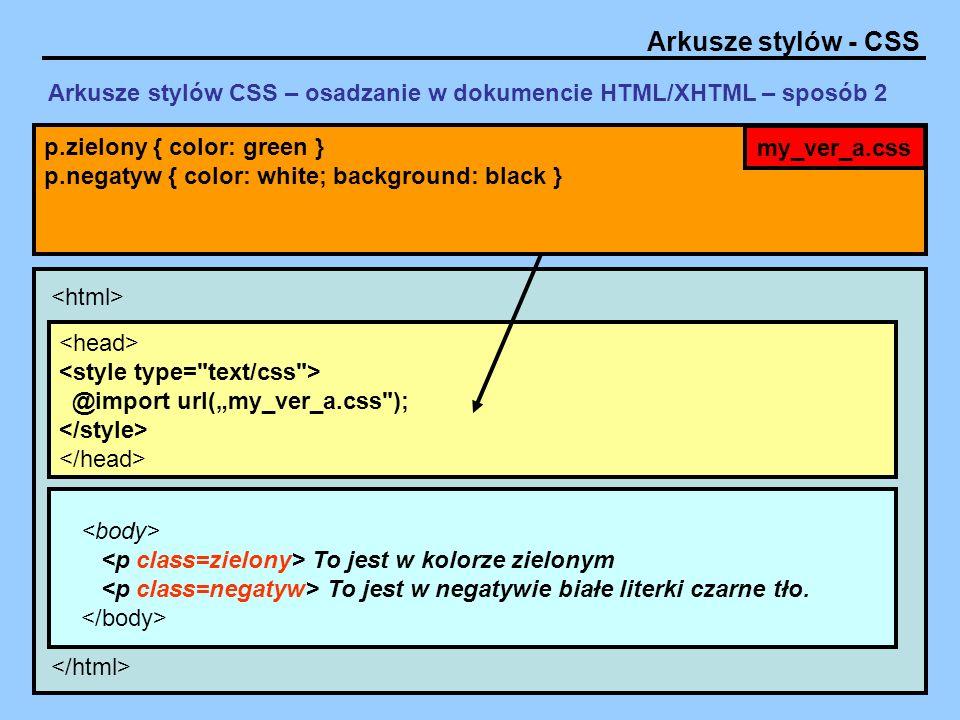 Arkusze stylów - CSS Arkusze stylów CSS – właściwości tekstu Przykłady: #paragraf_1 { color: red; text-align: left; text-decoration: none; text-transform: uppercase; text-indent: 36px; line-height: 150%; } color: red, rgb(RRR,GGG,BBB), #RRGGBB text-align: left, right,center,justify text-decoration:none, overline, line-through, underline, blink text-transform: uppercase, lowercase, capitalize text-indent: jednostka miary np.