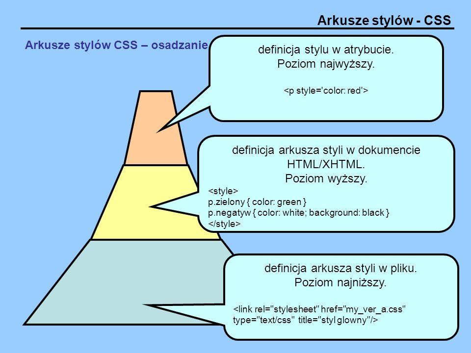 Arkusze stylów - CSS Arkusze stylów CSS – osadzanie w dokumencie HTML/XHTML definicja arkusza styli w pliku. Poziom najniższy. definicja arkusza styli