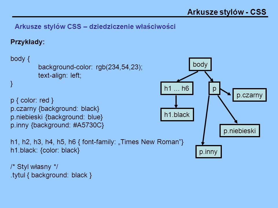 Arkusze stylów - CSS Arkusze stylów CSS – dziedziczenie właściwości Przykłady: body { background-color: rgb(234,54,23); text-align: left; } p { color: