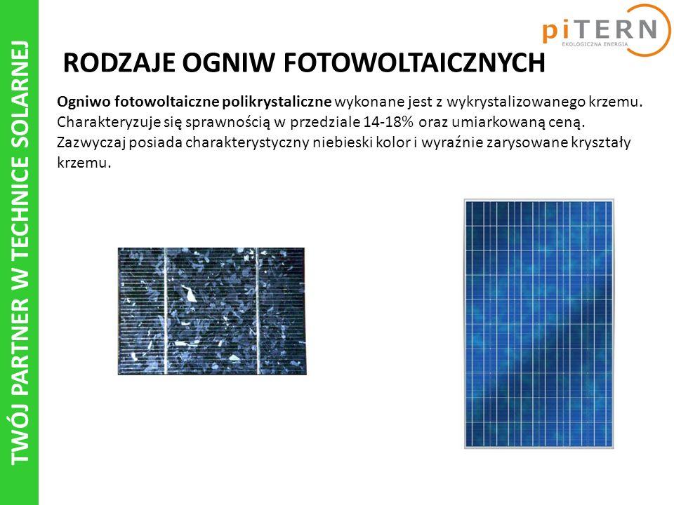TWÓJ PARTNER W TECHNICE SOLARNEJ RODZAJE OGNIW FOTOWOLTAICZNYCH Ogniwo fotowoltaiczne polikrystaliczne wykonane jest z wykrystalizowanego krzemu.