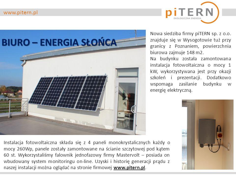 www.pitern.pl Nowa siedziba firmy piTERN sp. z o.o. znajduje się w Wysogotowie tuż przy granicy z Poznaniem, powierzchnia biurowa zajmuje 148 m2. Na b