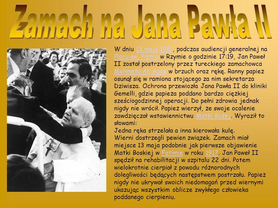 W dniu 13 maja 1981, podczas audiencji generalnej na Placu św.