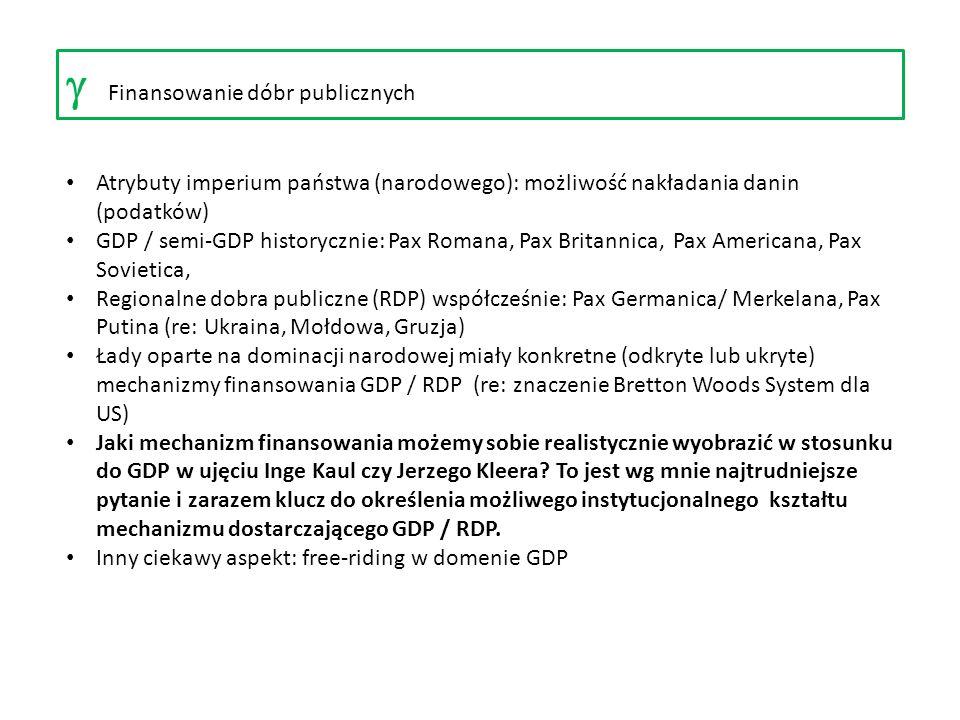 Finansowanie dóbr publicznych Atrybuty imperium państwa (narodowego): możliwość nakładania danin (podatków) GDP / semi-GDP historycznie: Pax Romana, P