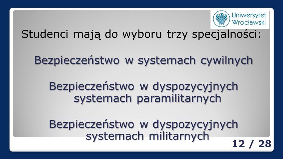 Studenci mają do wyboru trzy specjalności: Bezpieczeństwo w systemach cywilnych Bezpieczeństwo w dyspozycyjnych systemach paramilitarnych Bezpieczeństwo w dyspozycyjnych systemach militarnych 12 / 28