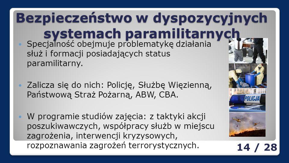 Bezpieczeństwo w dyspozycyjnych systemach paramilitarnych Specjalność obejmuje problematykę działania służ i formacji posiadających status paramilitarny.