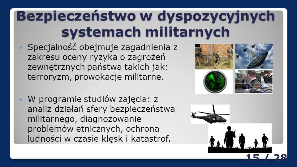 Bezpieczeństwo w dyspozycyjnych systemach militarnych Specjalność obejmuje zagadnienia z zakresu oceny ryzyka o zagrożeń zewnętrznych państwa takich jak: terroryzm, prowokacje militarne.